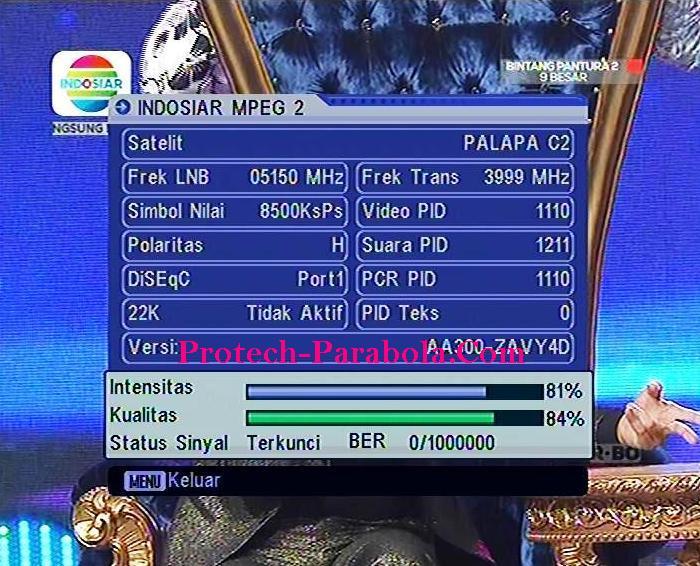 Freq Baru INDOSIAR 3999 H 8500 Sejak 1 Oktober 2015