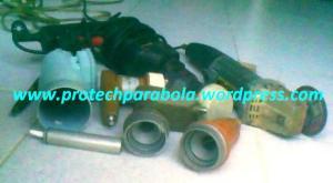 2 grenda, gergaji besi, bor, lnb C Band, pipa aluminium, lnb ku  band offset utk di modif