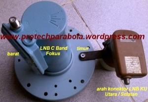 Braket LNB Ku Band terbuat dari Plat Besi berbentuk L dan clam selang di pasang pada Skalar Ring LNB C Band