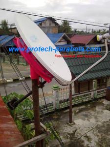 Gambar Modifikasi Dish IndovisionOkevisionTOP TV dengan Mounting Bekas Parabola