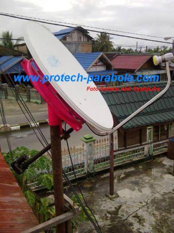 1 Gambar Modifikasi Dish IndovisionOkevisionTOP TV dengan Mounting Bekas Parabola Solid