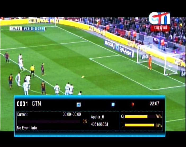 Liga BBVA on Apstar 6 F.C.B vs GRENADA