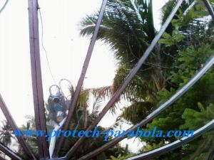 15 Arah Parabola ke satelit YAMAL 202 terhalang Pohon kelapa