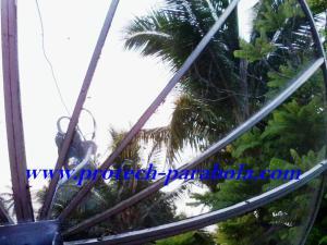 16 Arah Parabola ke satelit YAMAL 202 terhalang Pohon kelapa
