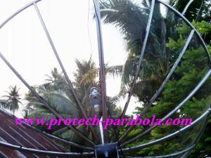 17 Arah Parabola ke satelit YAMAL 202 terhalang Pohon kelapa