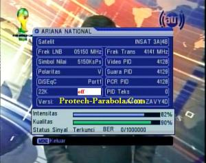 Freq Terkuat Satelit Insat 3A-4B 4141 V 5150 ARIANA TV