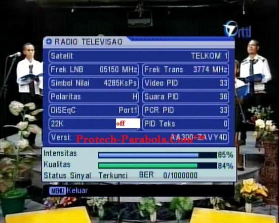 Kualitas Signal RRTL (Timor Leste) Freq 3774 H 4285