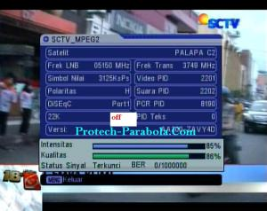Kualitas Signal SCTV Mpeg2 Freq 3749 H 3125 Satelit Palapa D