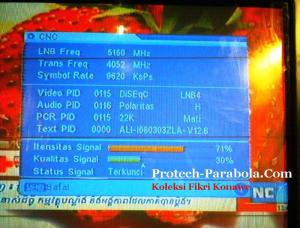 SQ Apstar 6 Freq 4051 H 9625 dengan Dish Indovisin, TOP TV, OKEVision